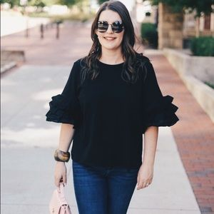 H&M black ruffle sleeve blouse.